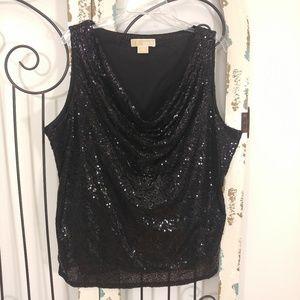 Michael Kors sleeveless sequin black top 3X